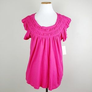 Free People Pink Coconut Gathered Top